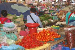 Colorful indoor market with fruits and vegetables, Vientiane, Laos Royalty Free Stock Image
