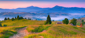 Colorful morning panorama of the morning mountains Stock Photo