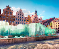 Colorful morning scene on Wroclaw Market Square. Stock Images