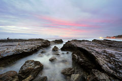 Colorful morning sky of sunrise at Currumbin, Queensland Royalty Free Stock Photos