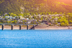 Colorful morning view of the lake Serre-Poncon Stock Photos