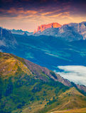 Colorful morning view of Sciliar (Schlern) mountain masive Royalty Free Stock Photography
