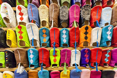 Colorful moroccan babouch shoe slippers. Colorful moroccan babouche shoe slippers in a shelf Stock Photography