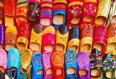 Colorful Moroccan babouch shoes slippers stock image