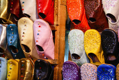 Colorful moroccan handmade leather shoes. Royalty Free Stock Images