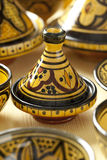 Colorful Moroccan pottery on the market Stock Photos