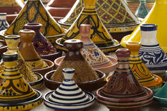 Colorful Moroccan pottery on the market Royalty Free Stock Photos
