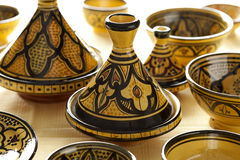 Colorful Moroccan pottery on the market Royalty Free Stock Photo