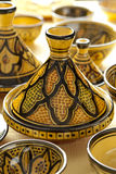 Colorful Moroccan pottery on the market Stock Photography