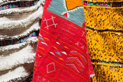 Colorful moroccan rugs on the market Royalty Free Stock Photos
