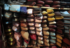 Colorful Moroccan shoes Stock Images