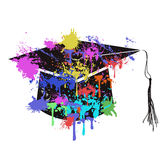 The colorful mortarboard cap. Isolated colorful mortarboard cap from white background Stock Photography