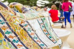 Colorful mosaic bench of park Guell in Barcelona Royalty Free Stock Photo