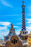 Colorful mosaic building in Park Guell Barcelona, Spain Royalty Free Stock Image