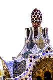 Colorful mosaic building in Park Guell Barcelona, Spain Stock Photo