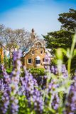 Colorful mosaic building in Park Guell. Violet lavender flower in foreground. Evening warm Sun light, Barcelona, Spain.  Stock Images