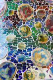 Colorful mosaic in casa Batllo, by Antoni Gaudi stock photography