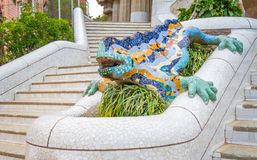 Colorful mosaic ceramic dragon in the Park Guel Stock Photos