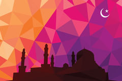 Colorful mosaic design - mosque. Mosque black silhouette, red color Royalty Free Stock Photos