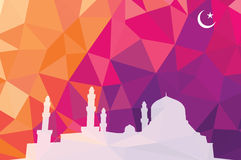 Colorful mosaic design - mosque. Mosque white silhouette, red color Royalty Free Stock Photography