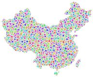 Colorful mosaic map of China Stock Images