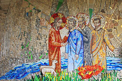 Colorful mosaic in the patio of Polloc church. A very nice modern art craftsmanship Royalty Free Stock Photo