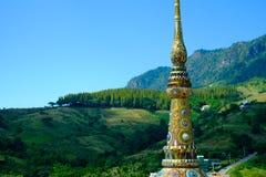 Colorful mosaic pattern on pinnacle of Thai pagoda Stock Photo