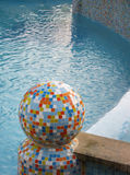 Colorful mosaic  sphere in pool Royalty Free Stock Photos