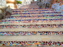 Colorful Mosaic Staircase in the Buddha Temple Royalty Free Stock Photo
