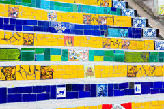 Colorful mosaic tile stairway in Lapa, Rio de Janeiro Stock Images