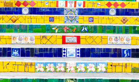 Colorful mosaic tile stairway in Lapa, Rio de Janeiro Royalty Free Stock Photo