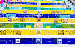 Colorful mosaic tile stairway in Lapa, Rio de Janeiro Royalty Free Stock Photography