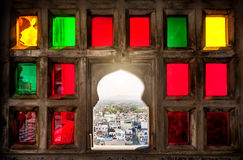 Colorful mosaic window in Rajasthan Royalty Free Stock Photos