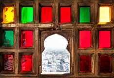Colorful mosaic window in Rajasthan Royalty Free Stock Image