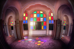 Colorful mosaic windows in Rajasthan Royalty Free Stock Photos