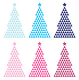 Colorful Mosaic Xmas tree set Royalty Free Stock Photography