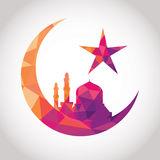 Colorful mosque design. Colorful mosaic design - Mosque and Big Crescent moon, red color Royalty Free Stock Image