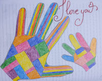 Colorful mother and child hand drawing Stock Images