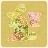 Colorful mother rabbit with their little child. Illustration in Royalty Free Stock Photography