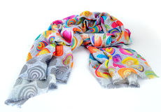 Colorful motley indian scarf isolated. Colorful motley scarf of linen and silk isolated on white Stock Photos