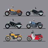 Colorful motorcycles set with several models in gray background. Vector illustration Stock Photos