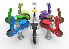 Colorful motorcycles swings in public park Royalty Free Stock Images