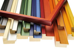 Colorful mouldings. Colorful wooden picture frame mouldings Royalty Free Stock Photo