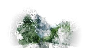 Colorful mountain hill and tree landscape on watercolor painting background. vector illustration