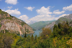 Colorful mountain lake and green grass Royalty Free Stock Photography