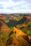 Colorful Mountain Landscape. Rich Colorful Cliff of Na Pali Kauai, Vertical Stock Photo