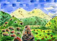 Colorful mountain landscape with a big snowy mountain. Watercolor Painting. Colorful mountain landscape with a big snowy mountain in the background. The hills Royalty Free Stock Image