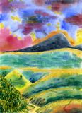 Colorful mountain landscape with hills, forest, river and road. Watercolor painting. Colorful mountain landscape with hills, forest, river and road. Cloudy sky Royalty Free Stock Image