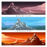Colorful Mountain landscape set illustration Stock Photography