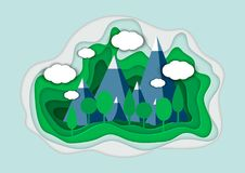 Vector illustration of a mountain landscape in a paper-cut style. Colorful mountain paper cut style. Vector illustration of a mountain landscape in a paper-cut Stock Photos